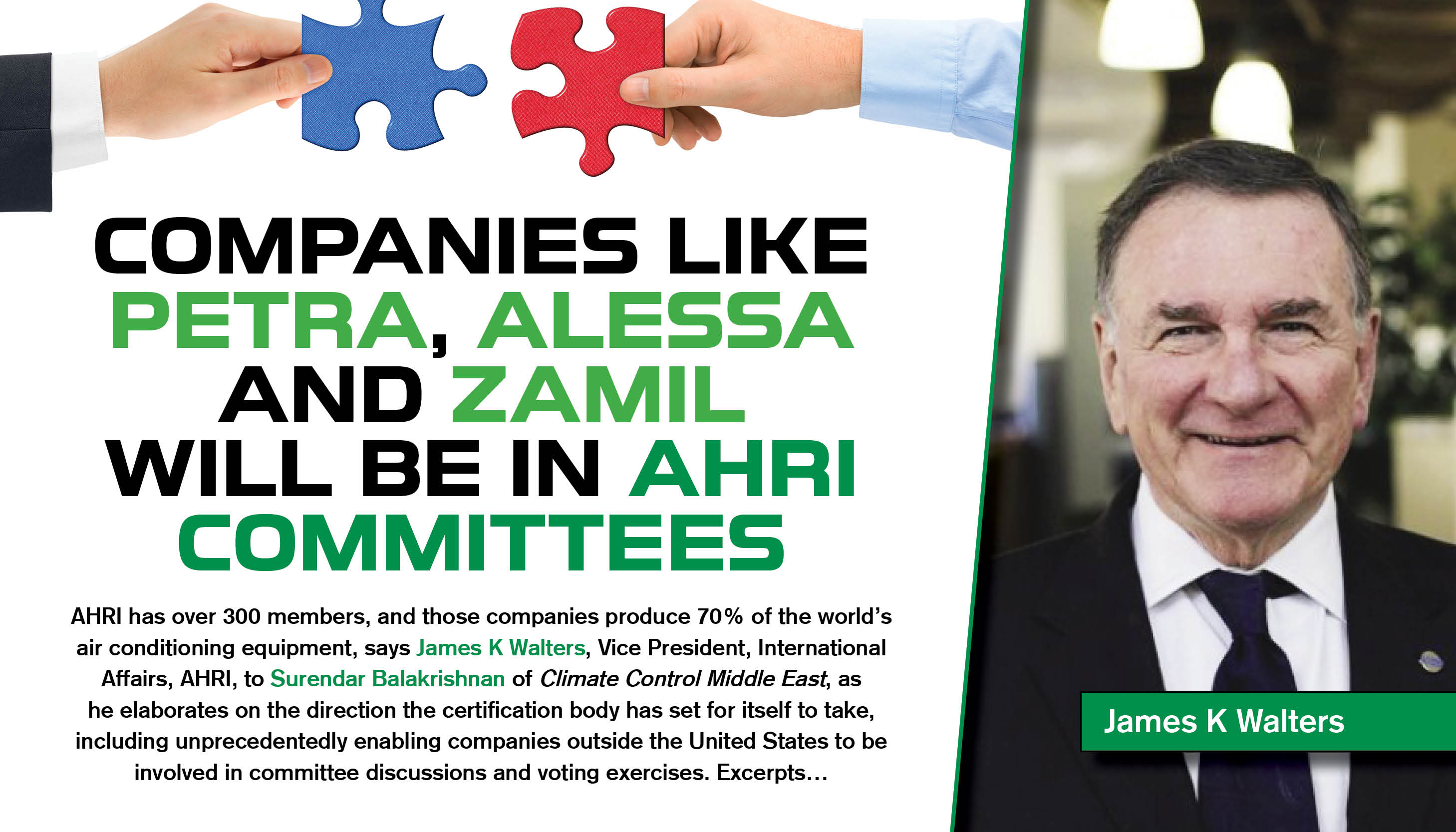 Companies like Petra, Alessa and Zamil will be in AHRI committees