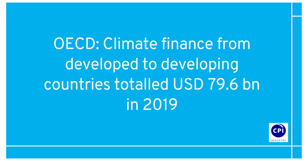 OECD: Climate finance from developed to developing countries totalled USD 79.6 bn in 2019
